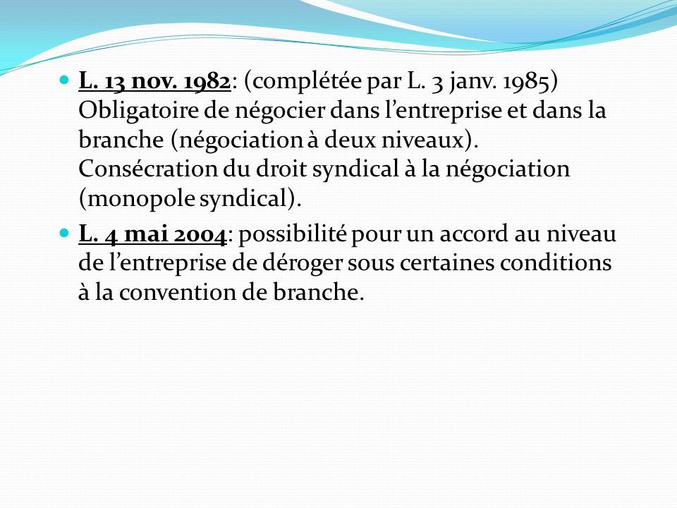 §2- Lobligation de négocier Au niveau de lentreprise: négociation annuelle.