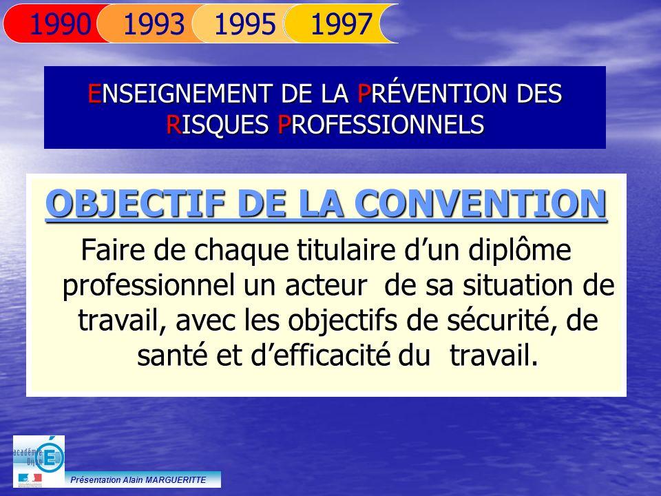 Présentation Alain MARGUERITTE ENSEIGNEMENT DE LA PRÉVENTION DES RISQUES PROFESSIONNELS OBJECTIF DE LA CONVENTION Faire de chaque titulaire dun diplôm