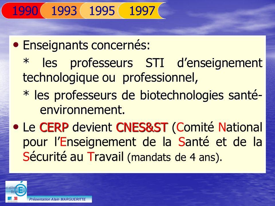 Présentation Alain MARGUERITTE Enseignants concernés: Enseignants concernés: * les professeurs STI denseignement technologique ou professionnel, * les