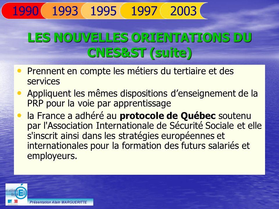 Présentation Alain MARGUERITTE Prennent en compte les métiers du tertiaire et des services Prennent en compte les métiers du tertiaire et des services
