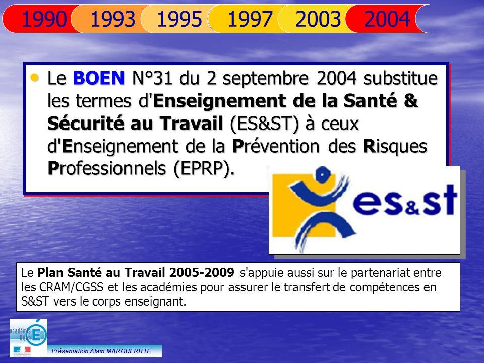 Présentation Alain MARGUERITTE Le BOEN N°31 du 2 septembre 2004 substitue les termes d'Enseignement de la Santé & Sécurité au Travail (ES&ST) à ceux d