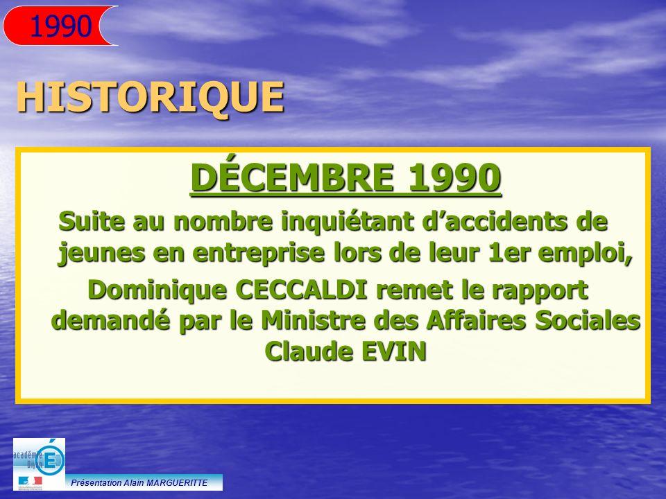 Présentation Alain MARGUERITTE HISTORIQUE DÉCEMBRE 1990 Suite au nombre inquiétant daccidents de jeunes en entreprise lors de leur 1er emploi, Dominiq