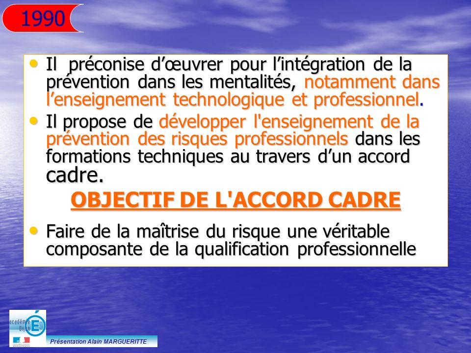 Présentation Alain MARGUERITTE Il préconise dœuvrer pour lintégration de la prévention dans les mentalités, notamment dans lenseignement technologique