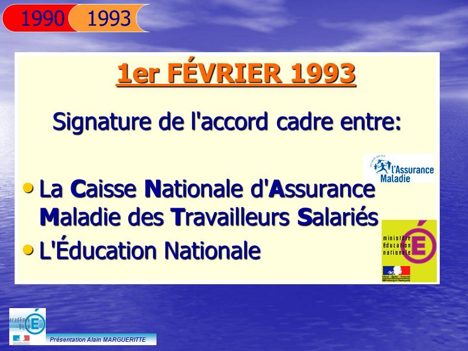 Présentation Alain MARGUERITTE 1er FÉVRIER 1993 Signature de l'accord cadre entre: La Caisse Nationale d'Assurance Maladie des Travailleurs Salariés L