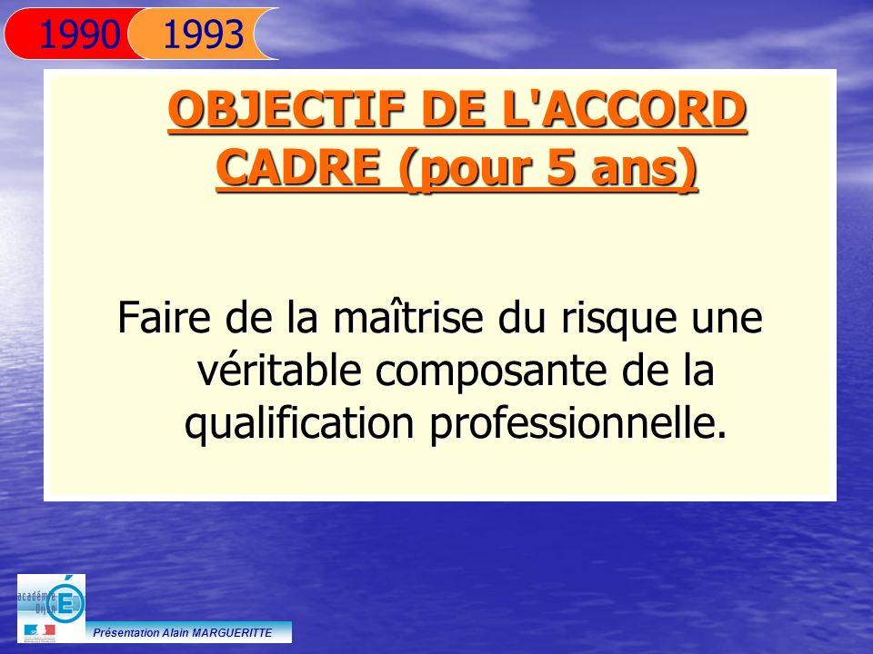 Présentation Alain MARGUERITTE OBJECTIF DE L'ACCORD CADRE (pour 5 ans) Faire de la maîtrise du risque une véritable composante de la qualification pro