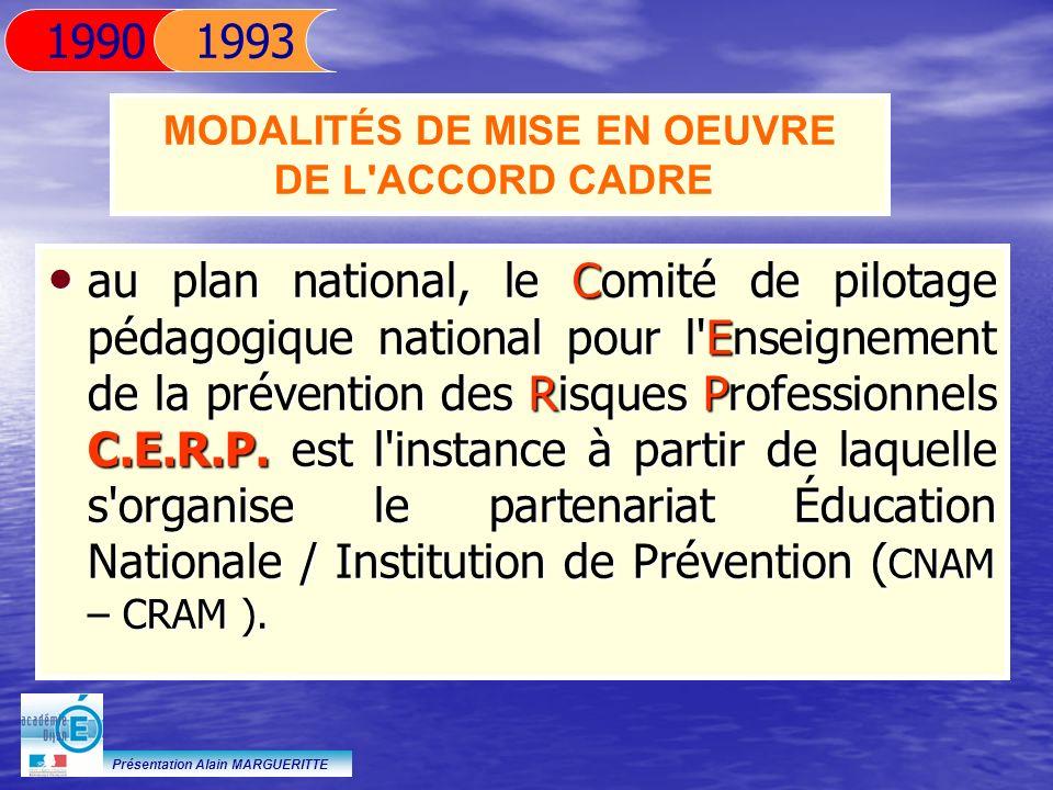 Présentation Alain MARGUERITTE au plan national, le Comité de pilotage pédagogique national pour l'Enseignement de la prévention des Risques Professio