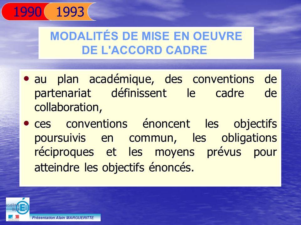 Présentation Alain MARGUERITTE au plan académique, des conventions de partenariat définissent le cadre de collaboration, au plan académique, des conve