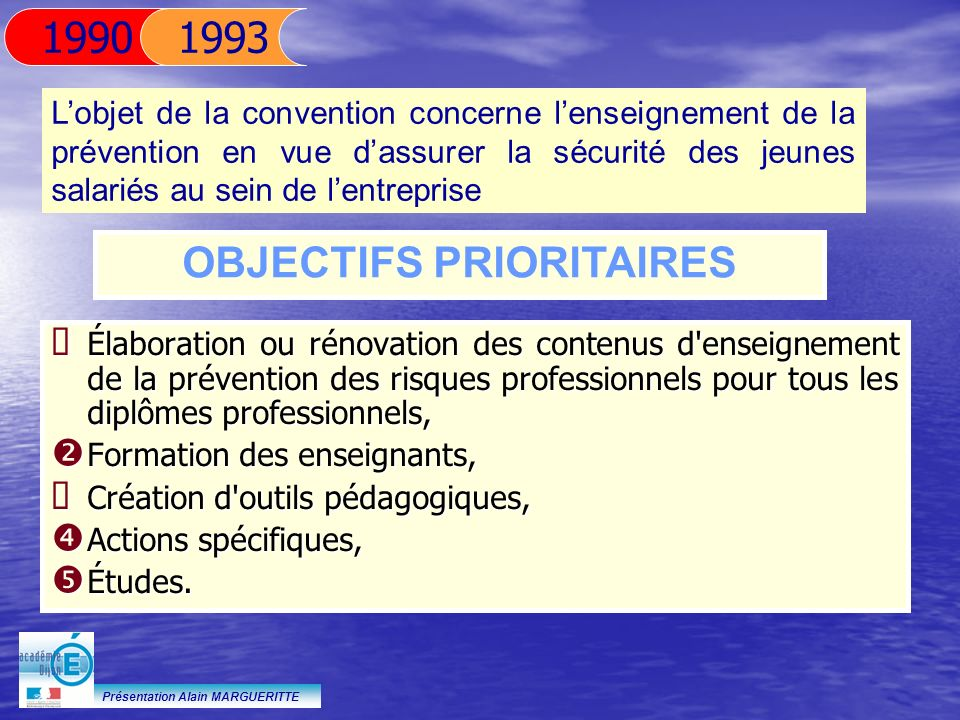 Présentation Alain MARGUERITTE 11 AVRIL 1995 Signature de l accord national pour la formation aux risques professionnels dorigine électrique Cet accord sinscrit dans le cadre de laccord du 1er février 1993.