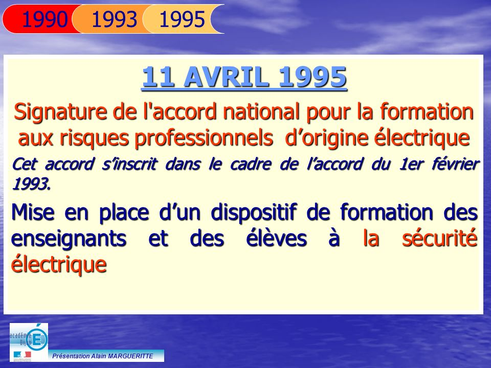 Présentation Alain MARGUERITTE 11 AVRIL 1995 Signature de l'accord national pour la formation aux risques professionnels dorigine électrique Cet accor