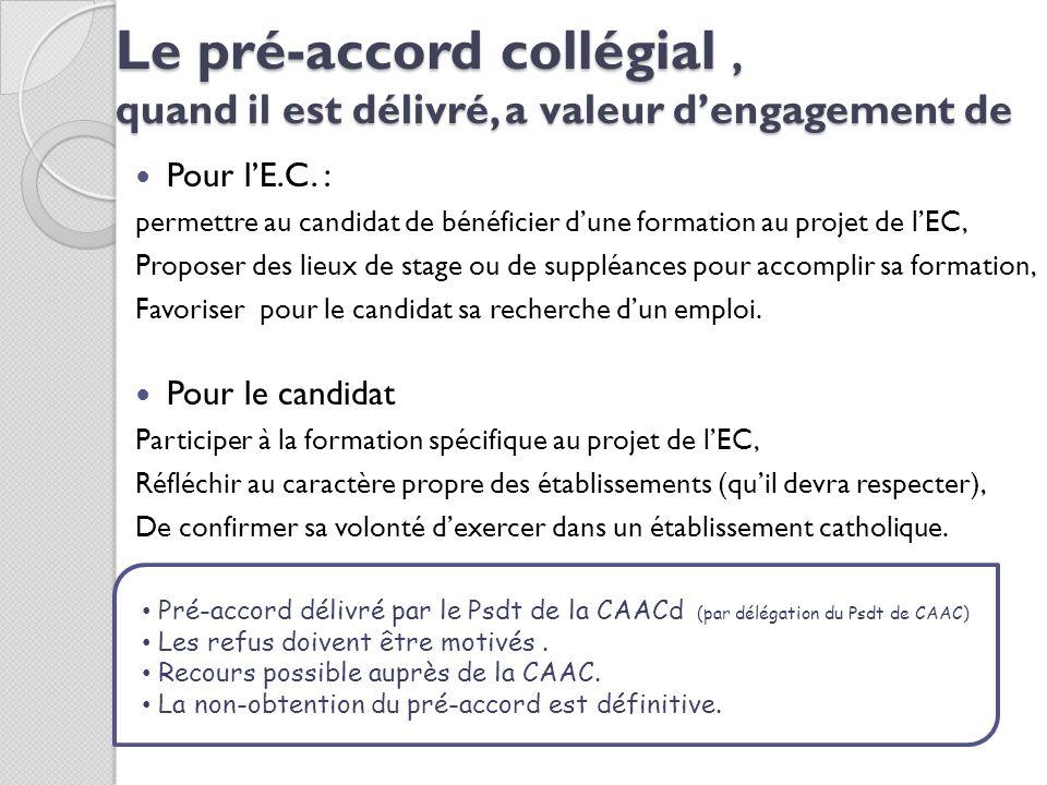 Le pré-accord collégial, quand il est délivré, a valeur dengagement de Pour lE.C. : permettre au candidat de bénéficier dune formation au projet de lE