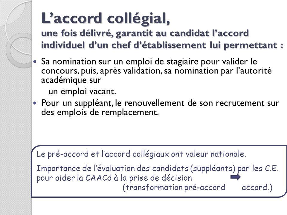 Laccord collégial, une fois délivré, garantit au candidat laccord individuel dun chef détablissement lui permettant : Sa nomination sur un emploi de s