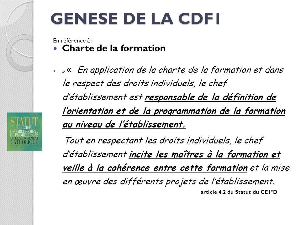 GENESE DE LA CDF1 En référence à : Charte de la formation » « En application de la charte de la formation et dans le respect des droits individuels, l