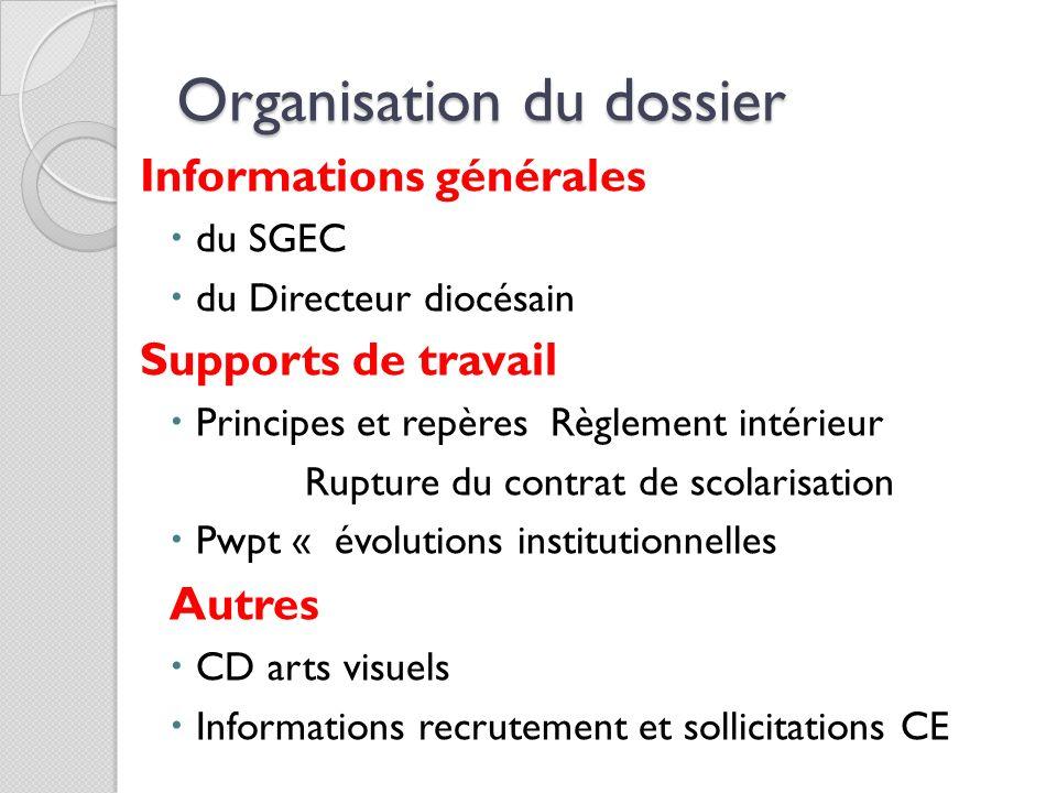 Organisation du dossier Informations générales du SGEC du Directeur diocésain Supports de travail Principes et repères Règlement intérieur Rupture du