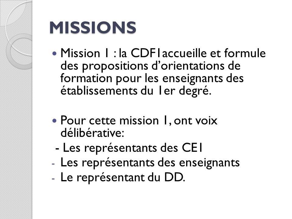 MISSIONS Mission 1 : la CDF1accueille et formule des propositions dorientations de formation pour les enseignants des établissements du 1er degré. Pou