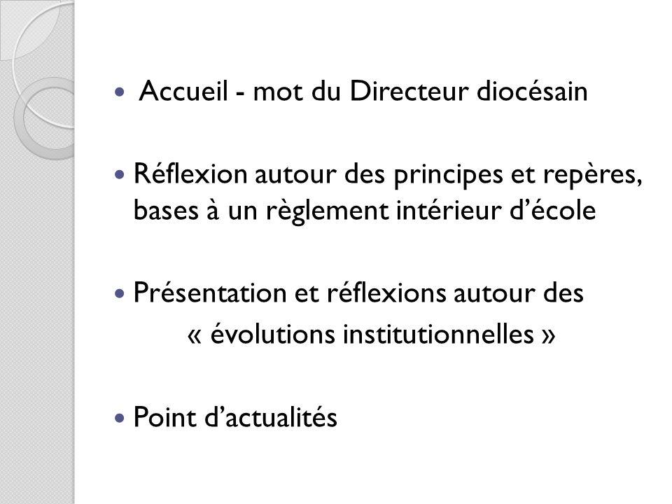 Accueil - mot du Directeur diocésain Réflexion autour des principes et repères, bases à un règlement intérieur décole Présentation et réflexions autou