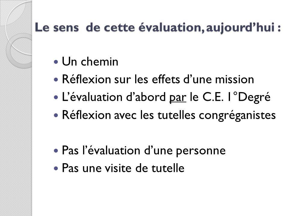Le sens de cette évaluation, aujourdhui : Un chemin Réflexion sur les effets dune mission Lévaluation dabord par le C.E. 1°Degré Réflexion avec les tu