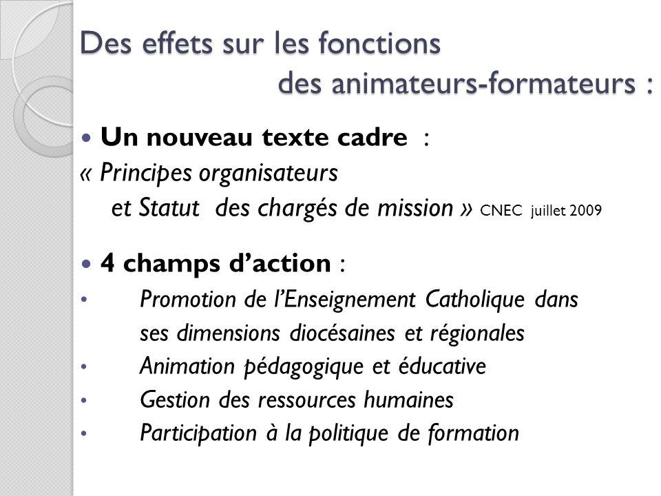 Des effets sur les fonctions des animateurs-formateurs : Un nouveau texte cadre : « Principes organisateurs et Statut des chargés de mission » CNEC ju