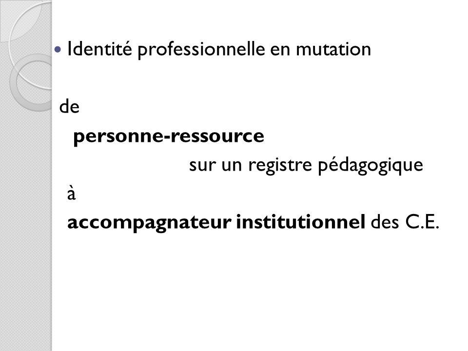 Identité professionnelle en mutation de personne-ressource sur un registre pédagogique à accompagnateur institutionnel des C.E.