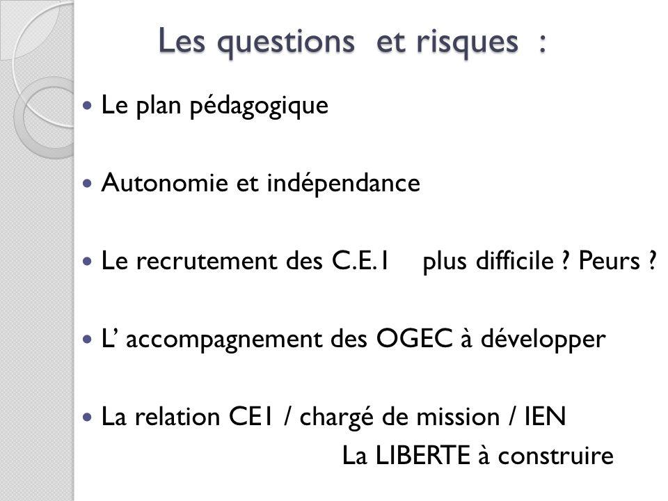 Les questions et risques : Le plan pédagogique Autonomie et indépendance Le recrutement des C.E.1 plus difficile ? Peurs ? L accompagnement des OGEC à