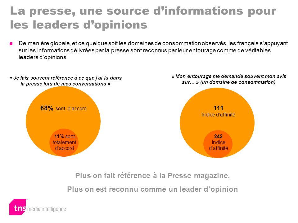 La presse, une source dinformations pour les leaders dopinions Plus on fait référence à la Presse magazine, Plus on est reconnu comme un leader dopini