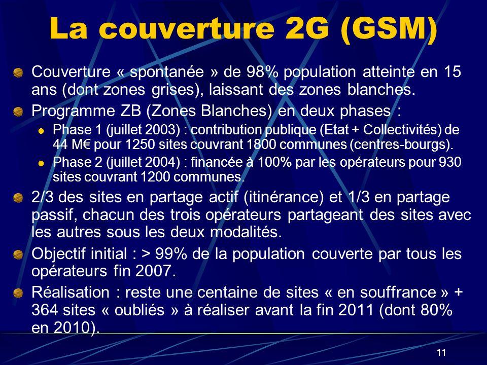 11 La couverture 2G (GSM) Couverture « spontanée » de 98% population atteinte en 15 ans (dont zones grises), laissant des zones blanches.