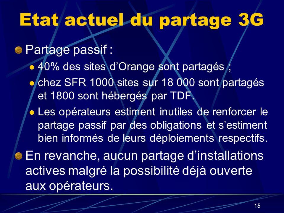 15 Etat actuel du partage 3G Partage passif : 40% des sites dOrange sont partagés ; chez SFR 1000 sites sur 18 000 sont partagés et 1800 sont hébergés par TDF.