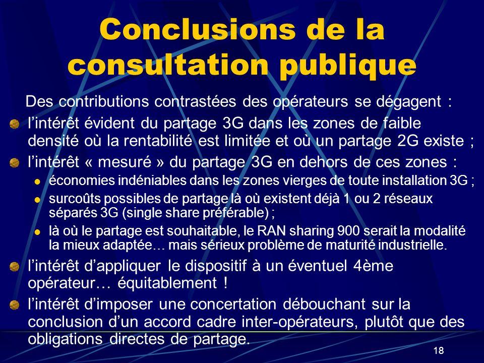 18 Conclusions de la consultation publique Des contributions contrastées des opérateurs se dégagent : lintérêt évident du partage 3G dans les zones de faible densité où la rentabilité est limitée et où un partage 2G existe ; lintérêt « mesuré » du partage 3G en dehors de ces zones : économies indéniables dans les zones vierges de toute installation 3G ; surcoûts possibles de partage là où existent déjà 1 ou 2 réseaux séparés 3G (single share préférable) ; là où le partage est souhaitable, le RAN sharing 900 serait la modalité la mieux adaptée… mais sérieux problème de maturité industrielle.