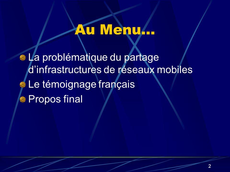 2 Au Menu… La problématique du partage dinfrastructures de réseaux mobiles Le témoignage français Propos final