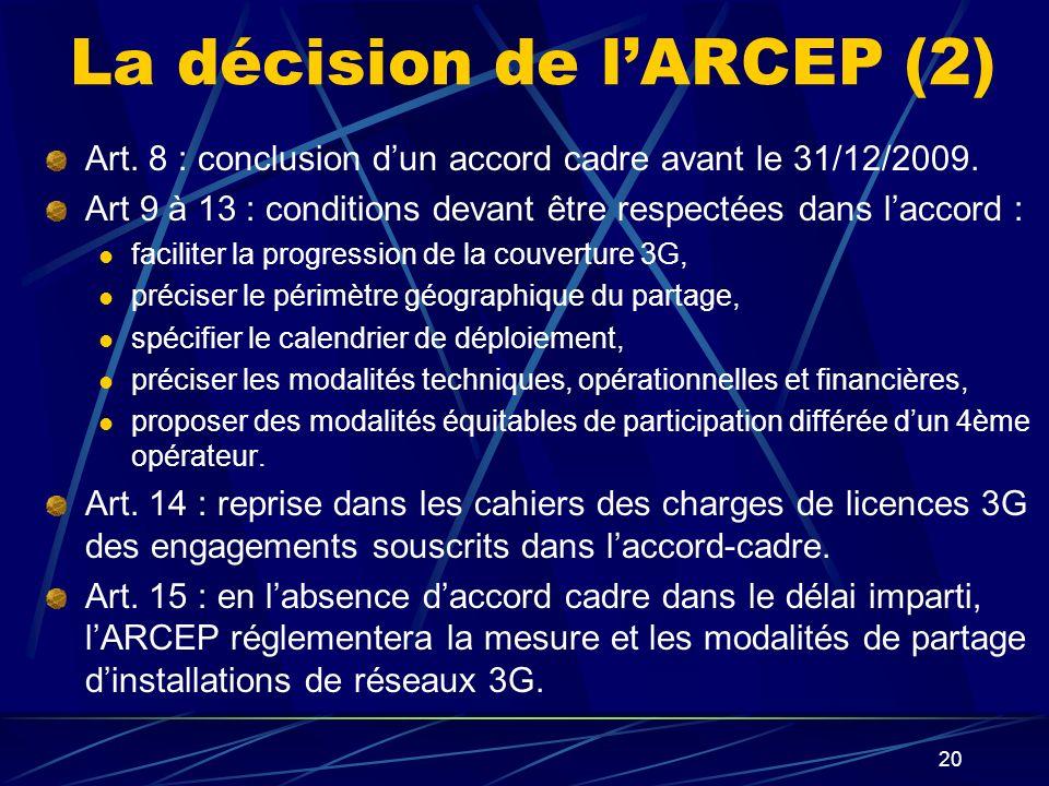 20 La décision de lARCEP (2) Art.8 : conclusion dun accord cadre avant le 31/12/2009.