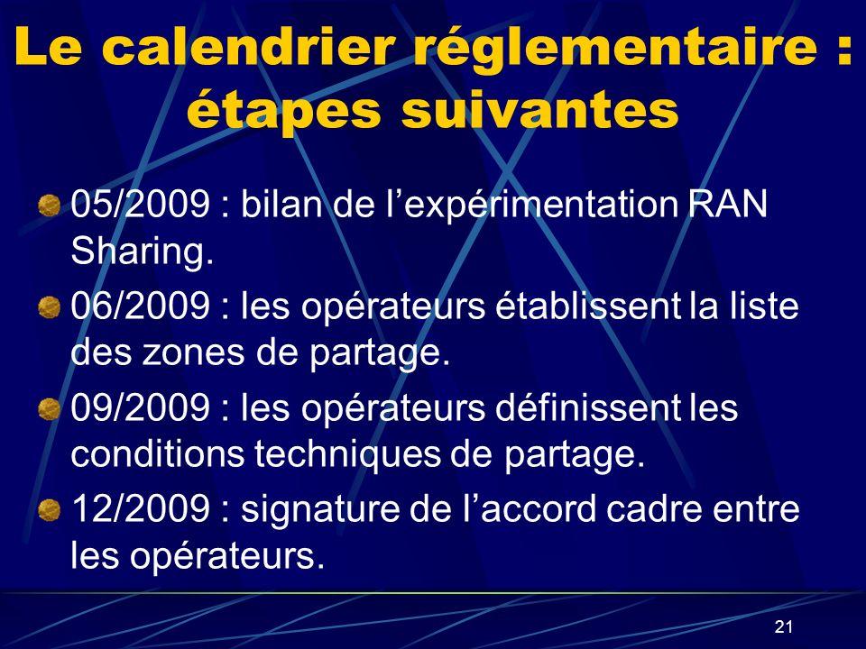 21 Le calendrier réglementaire : étapes suivantes 05/2009 : bilan de lexpérimentation RAN Sharing.