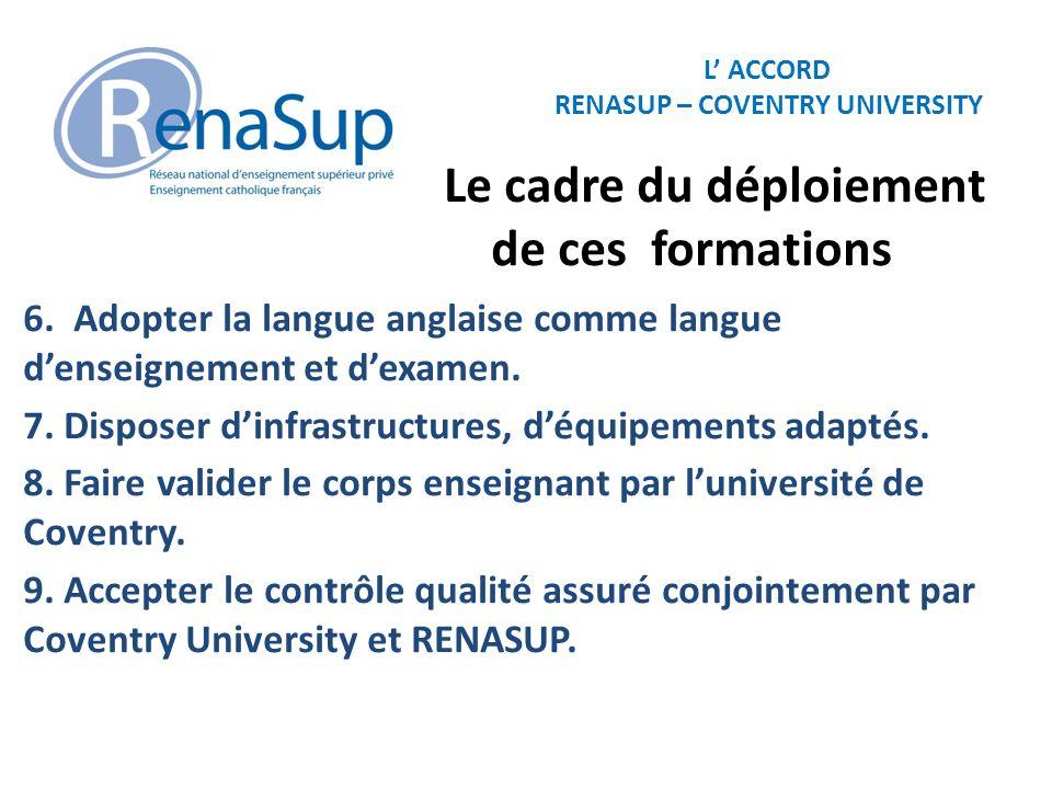 L ACCORD RENASUP – COVENTRY UNIVERSITY Le cadre du déploiement de ces formations 6. Adopter la langue anglaise comme langue denseignement et dexamen.