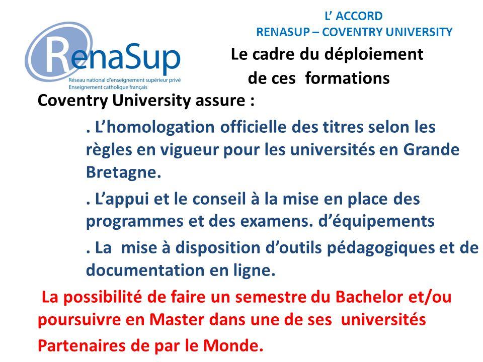 L ACCORD RENASUP – COVENTRY UNIVERSITY Le cadre du déploiement de ces formations RENASUP assure :.