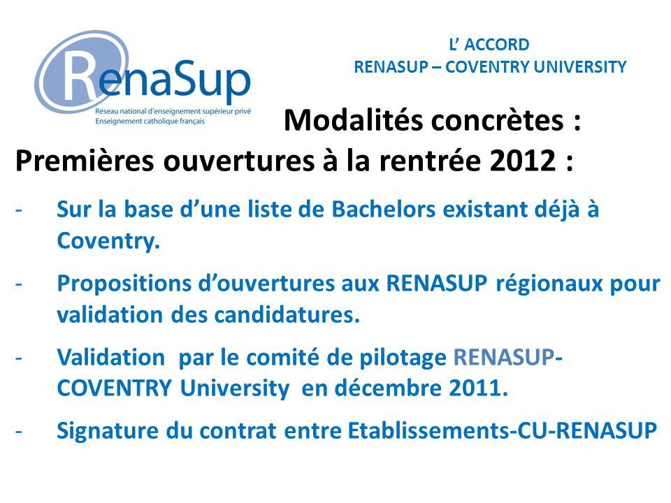 L ACCORD RENASUP – COVENTRY UNIVERSITY Modalités concrètes : Premières ouvertures à la rentrée 2012 : -Sur la base dune liste de Bachelors existant déjà à Coventry.