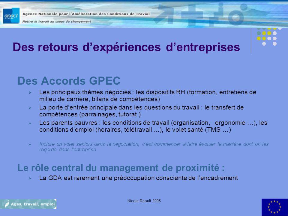 Nicole Raoult 200812 Des retours dexpériences dentreprises Des Accords GPEC Les principaux thèmes négociés : les dispositifs RH (formation, entretiens