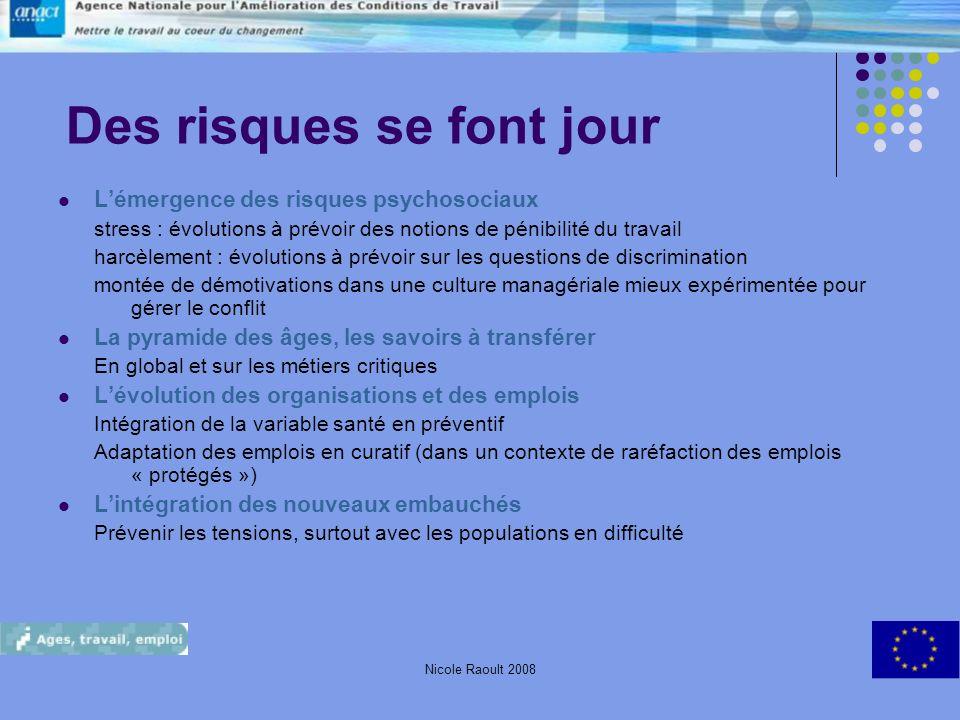 Nicole Raoult 200814 Des risques se font jour Lémergence des risques psychosociaux stress : évolutions à prévoir des notions de pénibilité du travail