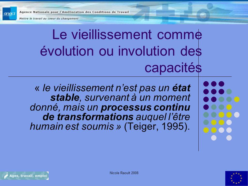 Nicole Raoult 200819 Le vieillissement comme évolution ou involution des capacités « le vieillissement nest pas un état stable, survenant à un moment