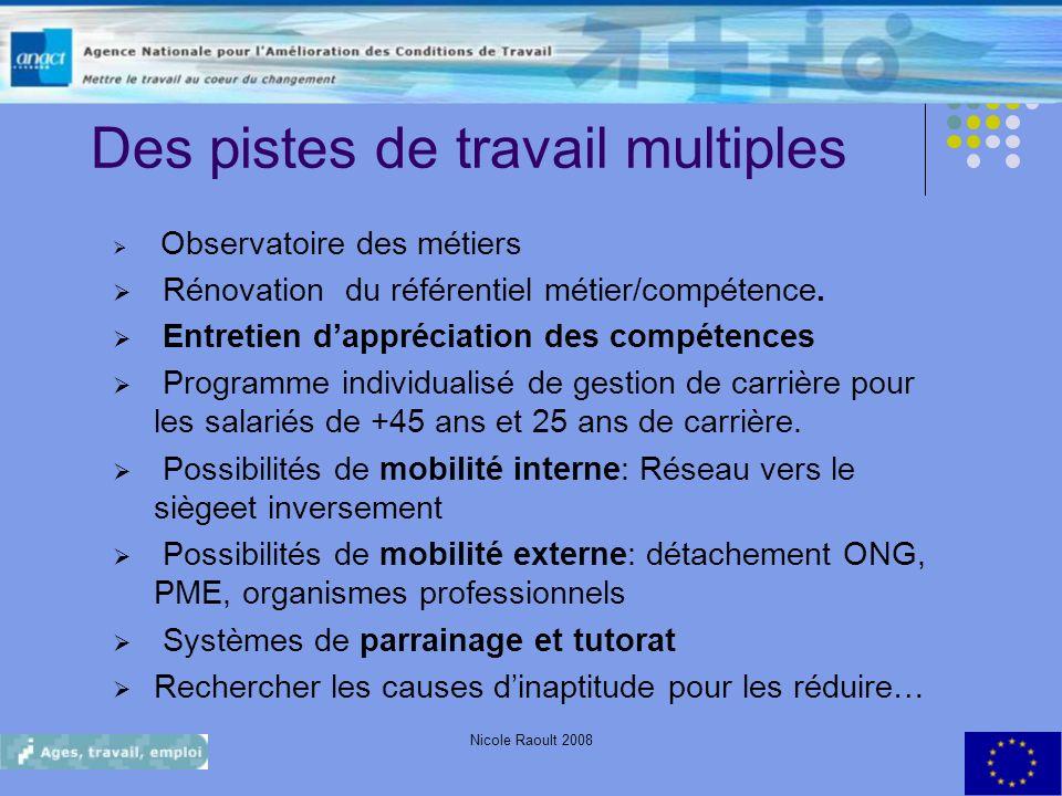 Nicole Raoult 200820 Des pistes de travail multiples Observatoire des métiers Rénovation du référentiel métier/compétence. Entretien dappréciation des