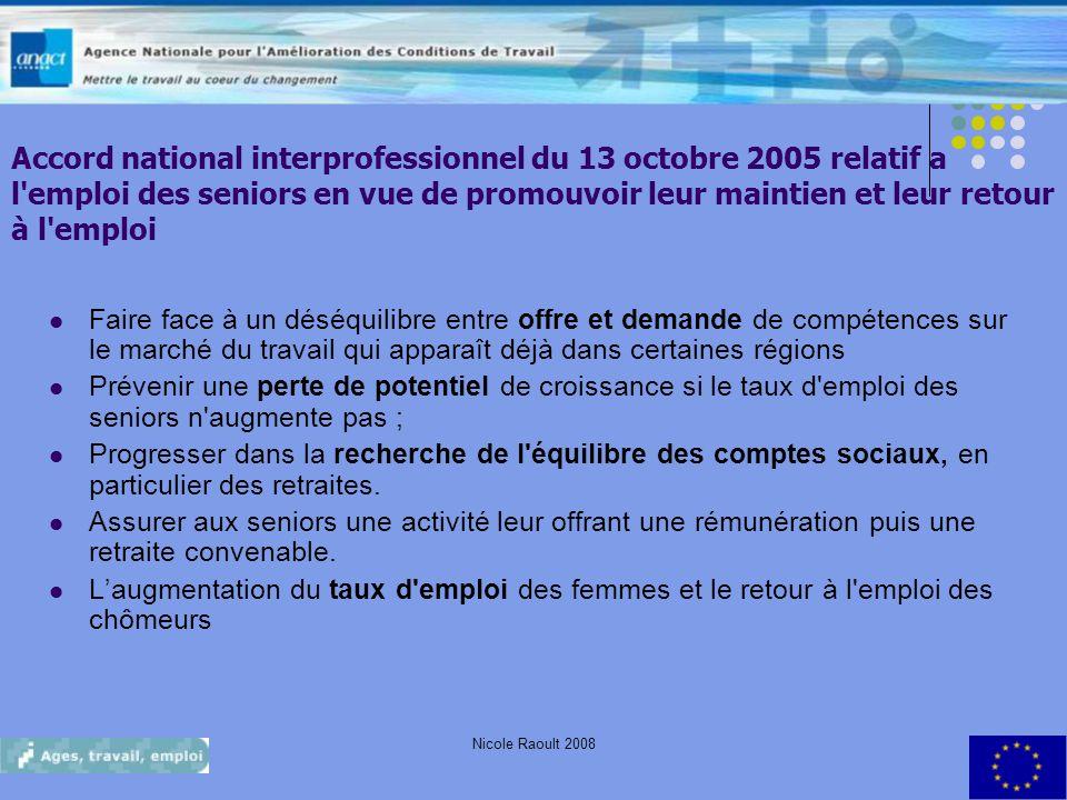 Nicole Raoult 20087 Accord national interprofessionnel du 13 octobre 2005 relatif a l'emploi des seniors en vue de promouvoir leur maintien et leur re