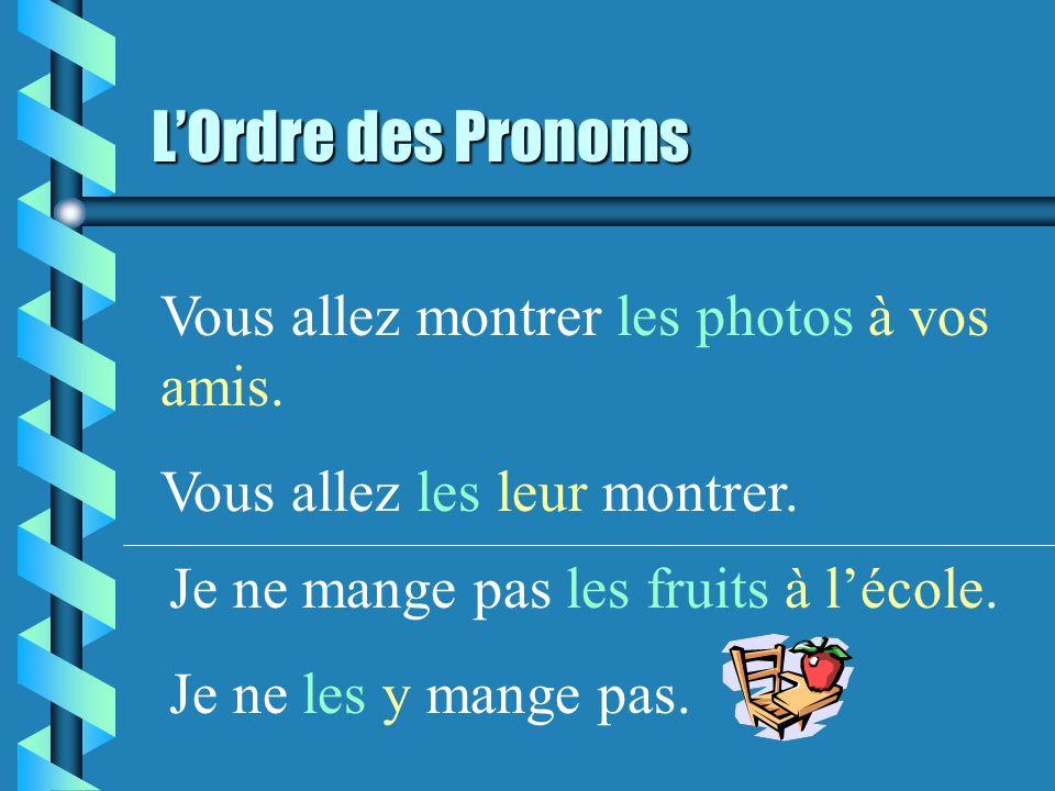LOrdre des Pronoms Vous allez montrer les photos à vos amis.