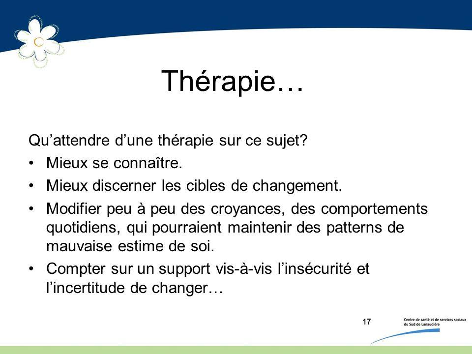 Thérapie… Quattendre dune thérapie sur ce sujet? Mieux se connaître. Mieux discerner les cibles de changement. Modifier peu à peu des croyances, des c