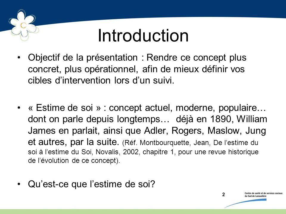 2 Introduction Objectif de la présentation : Rendre ce concept plus concret, plus opérationnel, afin de mieux définir vos cibles dintervention lors du