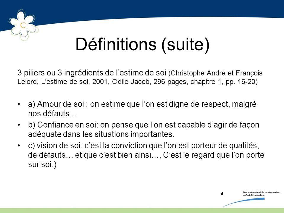 Définitions (suite) 3 piliers ou 3 ingrédients de lestime de soi (Christophe André et François Lelord, Lestime de soi, 2001, Odile Jacob, 296 pages, c