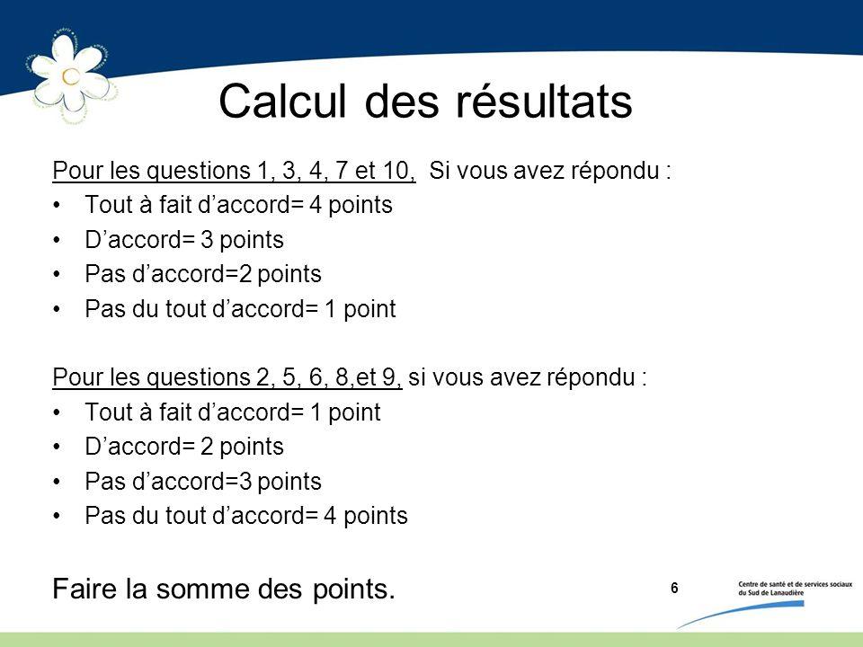 Calcul des résultats Pour les questions 1, 3, 4, 7 et 10, Si vous avez répondu : Tout à fait daccord= 4 points Daccord= 3 points Pas daccord=2 points