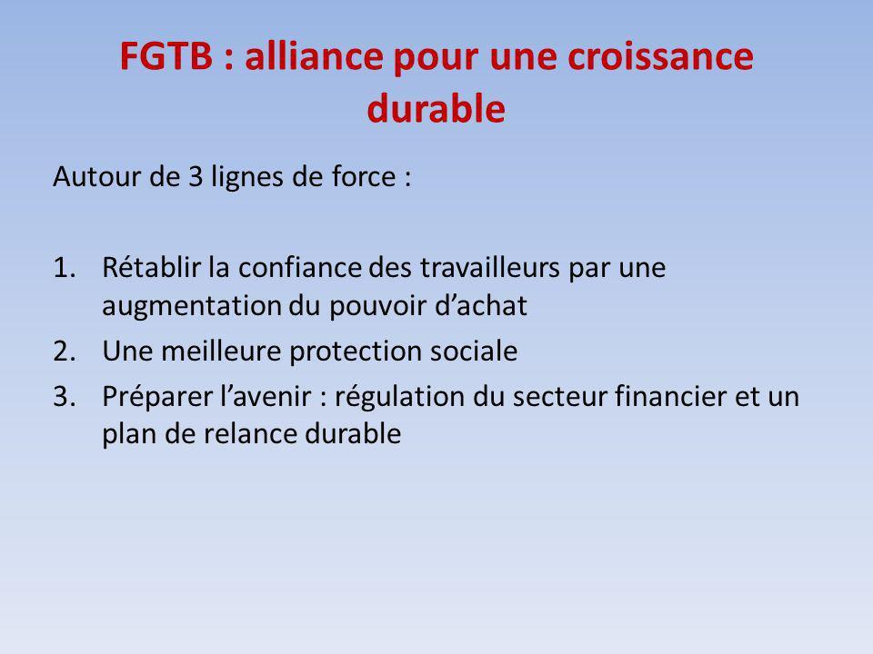 FGTB : alliance pour une croissance durable Autour de 3 lignes de force : 1.Rétablir la confiance des travailleurs par une augmentation du pouvoir dachat 2.Une meilleure protection sociale 3.Préparer lavenir : régulation du secteur financier et un plan de relance durable