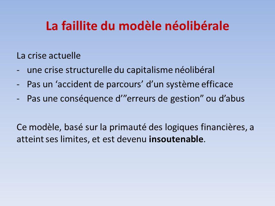 La faillite du modèle néolibérale La crise actuelle -une crise structurelle du capitalisme néolibéral -Pas un accident de parcours dun système efficace -Pas une conséquence derreurs de gestion ou dabus Ce modèle, basé sur la primauté des logiques financières, a atteint ses limites, et est devenu insoutenable.