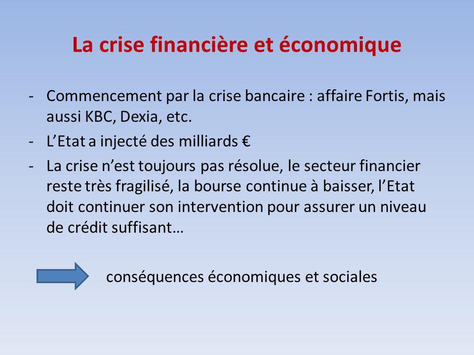 La crise financière et économique -Commencement par la crise bancaire : affaire Fortis, mais aussi KBC, Dexia, etc. -LEtat a injecté des milliards -La