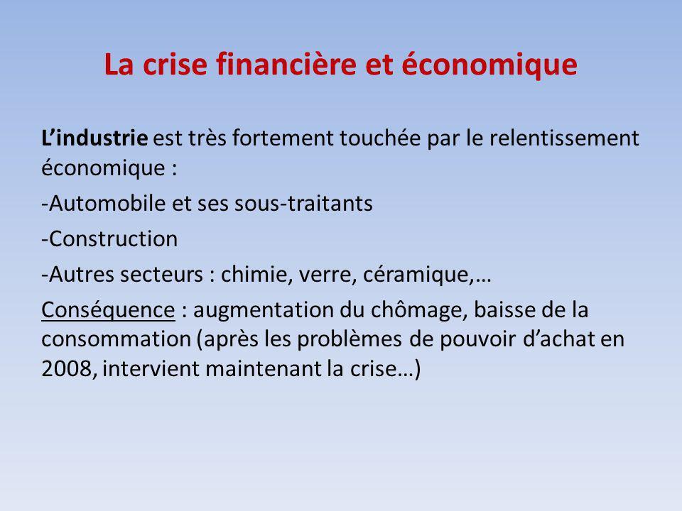 La crise financière et économique Lindustrie est très fortement touchée par le relentissement économique : -Automobile et ses sous-traitants -Construc