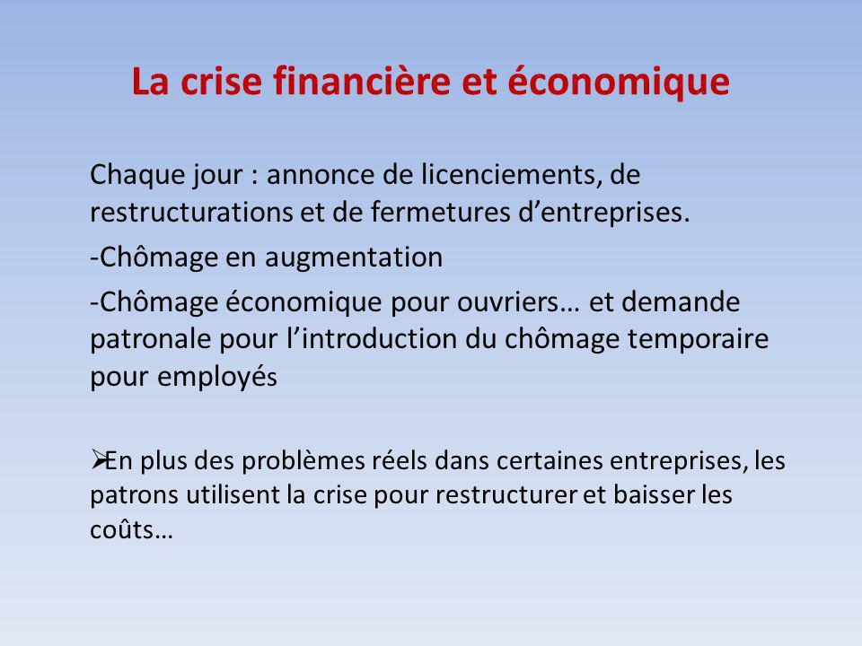La crise financière et économique Chaque jour : annonce de licenciements, de restructurations et de fermetures dentreprises. -Chômage en augmentation