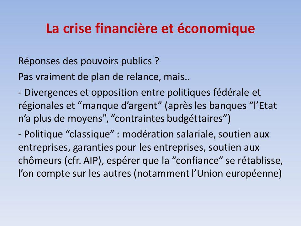 La crise financière et économique Réponses des pouvoirs publics ? Pas vraiment de plan de relance, mais.. - Divergences et opposition entre politiques