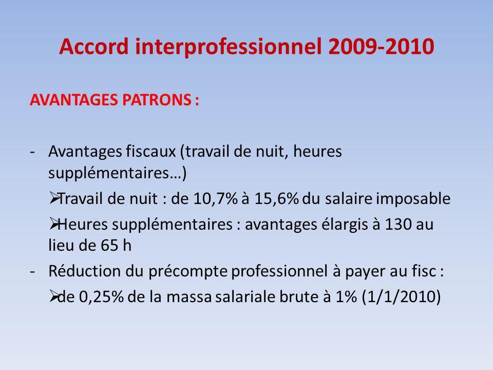 Accord interprofessionnel 2009-2010 AVANTAGES PATRONS : -Avantages fiscaux (travail de nuit, heures supplémentaires…) Travail de nuit : de 10,7% à 15,